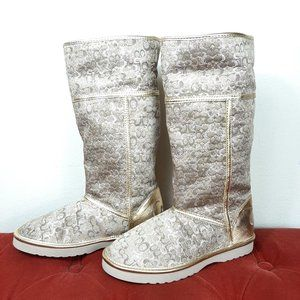 COACH Nikole Gold Signature Lurex Shearling Boots